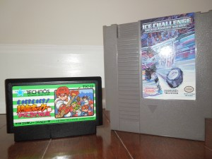 The original Famicom cartridge of Ike! Ike! Nekketsu Hockey Bu and the NES translation cartridge, Ice Challenge