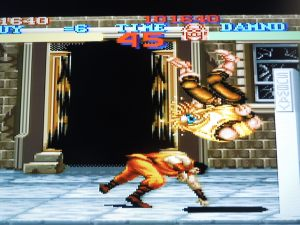 The game's feature character, a ninja named Guy, is quick at dealing out justice.