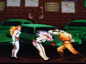 The two female enemies found in this game, Roxy and Poison, were removed from the U.S. version.