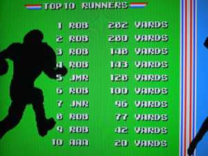 If you finish in the top 10 of rushing yards, passing yards, tackles, or interceptions, you can enter your initials in the high score screen - which will save even after you turn off the system.