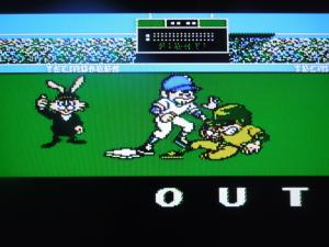 The Tecmo Bunny calls the game fair and square. (Notice the 'TecmoBeer' advertisement on the wall)