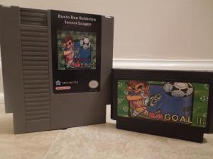 Nekketsu Soccer League translated reproduction cartridge and the bootleg version, Goal III