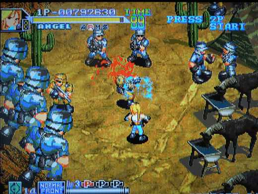 There is a lot of blood in 2nd Squad, unless you play on a European Neo Geo AES.