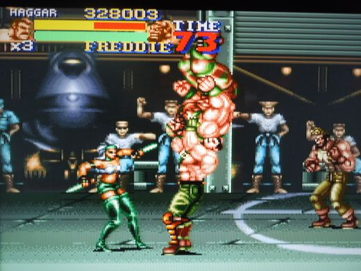Female gang members, like the one seen here, were only found in the Japanese version of Final Fight 2.