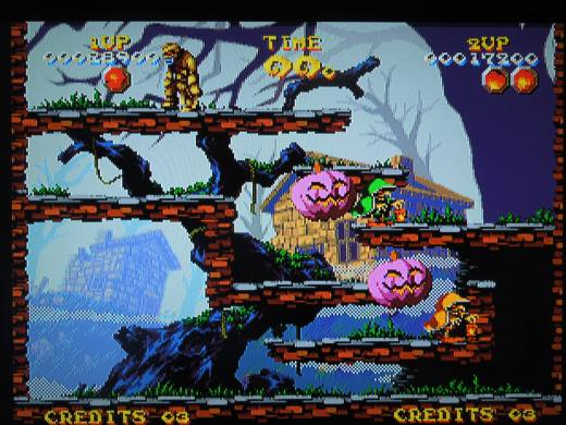 Beat each stage before the clock expires or the dreaded Purple Jack-O'-Lantern will come for you.